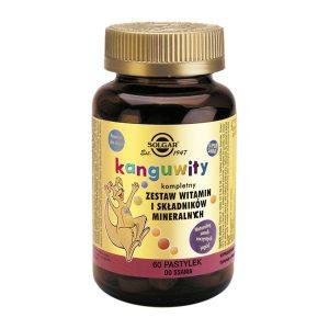 Solgar Kanguwity Zestaw witamin i minerałów, pastylki do ssania o smaku jagodowym, 60 szt. / (Solgar Vitamin & Herb)