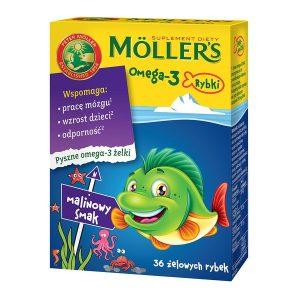 Mollers Omega-3 Rybki, żelki, smak malinowy, 36 szt. / (Orkla Care S.a.)