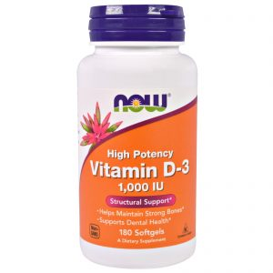 Vitamin D-3 High Potency, 1,000 IU, 180 Softgels (Now Foods)