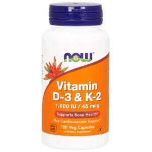 Vitamin D-3 & K-2, 1,000 IU / 45 mcg, 120 Veg Capsules (Now Foods)