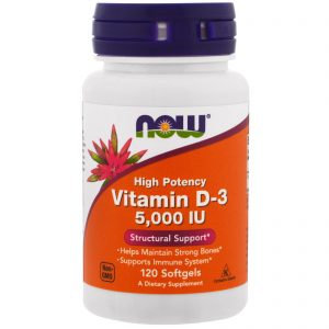 Vitamin D-3, High Potency, 5,000 IU, 120 Softgels (Now Foods)