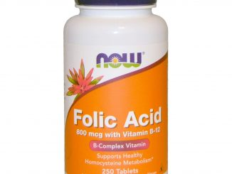 Folic Acid with Vitamin B-12, 800 mcg, 250 Tablets (Now Foods)