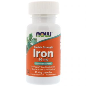 Iron, Double Strength, 36 mg, 90 Veg Capsules (Now Foods)