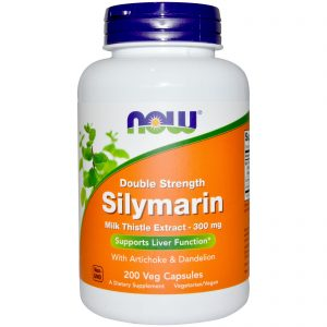 Silymarin, Milk Thistle Extract with Artichoke & Dandelion, Double Strength, 300 mg, 200 Veg Capsules (Now Foods)