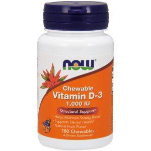 Chewable Vitamin D-3, Natural Fruit Flavor, 1,000 IU, 180 Chewables (Now Foods)