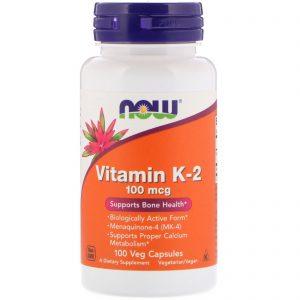 Vitamin K-2, 100 mcg, 100 Veg Capsules (Now Foods)