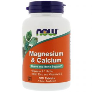 Magnesium & Calcium, Reverse 2:1 Ratio with Zinc and Vitamin D-3, 100 Tablets (Now Foods)