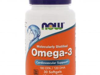 Omega-3, Molecularly Distilled, 30 Softgels (Now Foods)