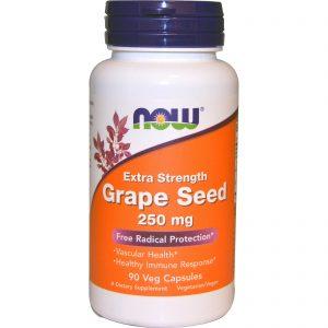 Grape Seed, Extra Strength, 250 mg, 90 Veg Capsules (Now Foods)