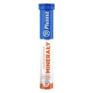 Plusssz Minerały+Multiwitamina, tabletki musujące o smaku pomarańczowo-grejpfrutowym, 24 szt. / (Polski Lek)
