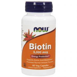 Biotin, 5,000 mcg, 60 Veg Capsules (Now Foods)