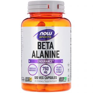 Sports, Beta-Alanine, Endurance, 750 mg, 120 Veg Capsules (Now Foods)