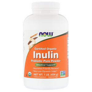 Certified Organic Inulin, Prebiotic Pure Powder, 1 lb (454 g) (Now Foods)
